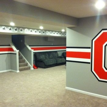 man caves gaming area in basement